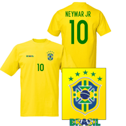 Brasil stil fotbollströja med Neymar Jr 10 tryck 140cl 9-11år