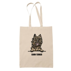 Cairn Terrier tygkasse hund shopping väska Tote bag  Natur one size
