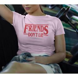 Dam rosa T-shirt inspirerad av Stranger things friends don't lie Pink M
