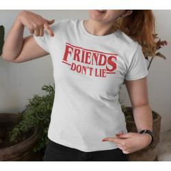 Dam T-shirt inspirerad av Stranger things - Friends don't lie White M