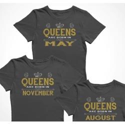 Dam T-shirts Queens are born in.... välja månad Black XL