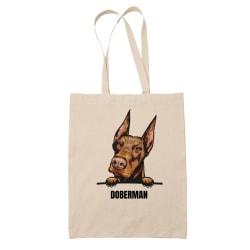 Doberman tygkasse hund shopping väska Tote bag  Natur one size