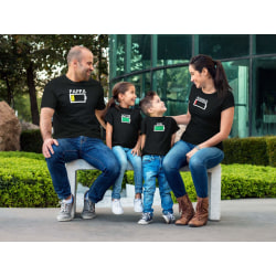 Familje Batteri T-shirt - Pappa Mamma Son & dotter Pappa : Large