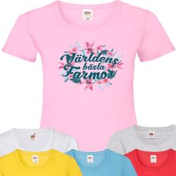 Farmor Blom t-shirt - flera färger - Blom Rosa T-shirt - Large