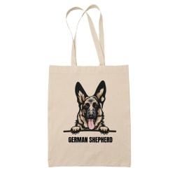 German Shepherd tygkasse hund shopping väska Tote bag schäfer Natur one size