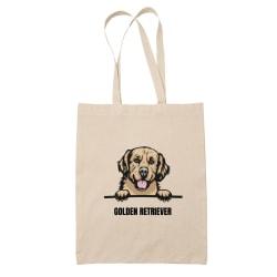 Golden retriever tygkasse hund shopping väska Tote bag  Natur one size