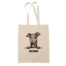 Greyhound tygkasse hund shopping väska Tote bag  Natur one size