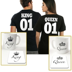 King eller Queen paket med t-shirt + mugg & underlägg paket Queen T-shirt Medium & Queen mugg +