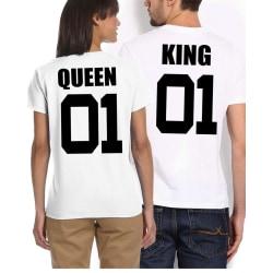 King t-shirt eller queen t-shirt 01 - Vit QUEEN - LARGE