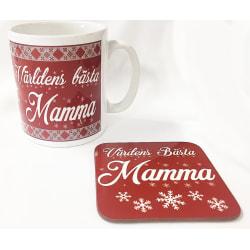 Mamma Mugg + Underlägg paket med tryck : Världens bästa Mamma