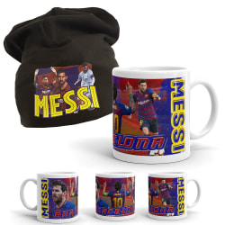Messi Mössa + Mugg paket med tryck Barcelona