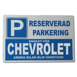 Metall plåtskylt med ' Chevrolet ' design - 30x20 cm skylt