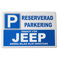 Metall plåtskylt med ' Jeep ' design - 30x20 cm skylt