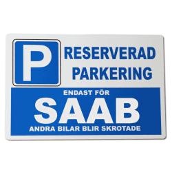Metall plåtskylt med ' Saab ' design - 30x20 cm skylt