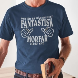 Morfar T-shirt i marin blå , fantastisk Morfar ser ut M