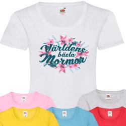 Mormor t-shirt - flera färger - Blom Grå T-shirt - Large