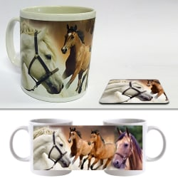 Mugg + Underlägg paket med tryck : Hästar