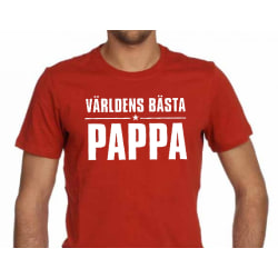Röd T-shirt med design - Världens bästa pappa XL