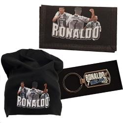 Ronaldo beanie mössa, nyckelring & plånbok paket Juventus