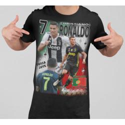 Ronaldo svart t-shirt - tryck fram Juventus & Portugal  spelare 140cl 9-11år