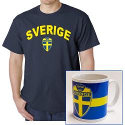 Sverige navy t-shirt & Sverige mugg paket L