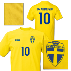 Sverige stil fotbollströja med Ibrahimovic 10 tryck M