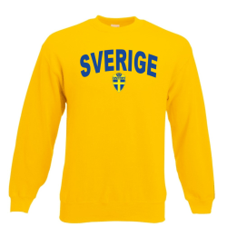 Sverige sweatshirt med sverige logo & text fram - Gul L