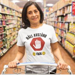 T-shirt med Håll Avstånd - Tack tryck White XL