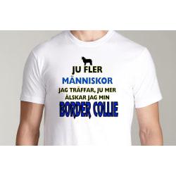 Vit T-shirt  - Border collie hund tröja XXL