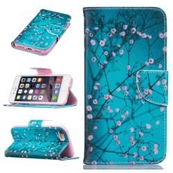 Blommigt läderfodral med kortplats till iPhone 8/7, blå