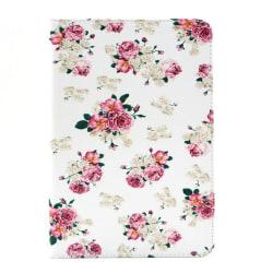 Blommigt läderfodral med ställ till iPad Mini 4 vit