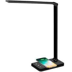 Dimbar skrivbordslampa med QI-laddning och 5 ljuslägen svart
