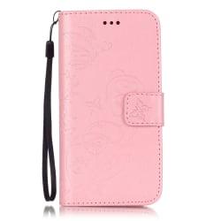 Embossment läderfodral med vristband och stöd, iPhone 7 rosa