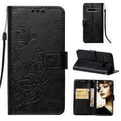 Embossment läderfodral med vristband/stöd, Samsung Galaxy S10 svart