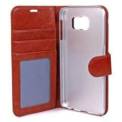 Gear plånboksfodral i läder brun, Samsung Galaxy S6