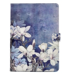 Läderfodral blommor, iPad 9.7 (2017-2018), blå blå