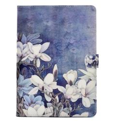 Läderfodral blommor, iPad Air, blå blå