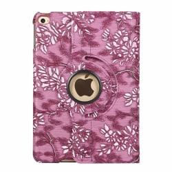 Läderfodral med blommor till iPad Mini 4/5 Mörkrosa