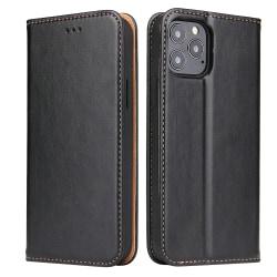 Läderfodral med kortplats, iPhone 12/12 Pro svart