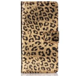 Läderfodral med kortplats leopard guld, Samsung Galaxy S10E brun