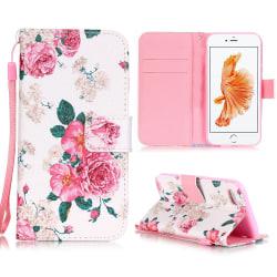 Läderfodral med kortplats rosor, iPhone 8/7