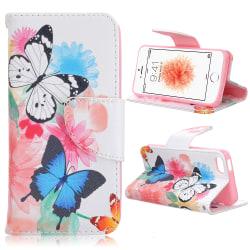 Läderfodral med kortplats till iPhone 5/5S/SE, fjärilar