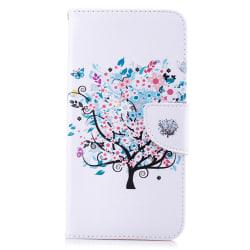 Läderfodral med ställ/kortplats, blommigt träd, iPhone XS Max vit