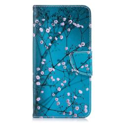 Läderfodral med ställ/kortplats, blommor, iPhone XS Max blå
