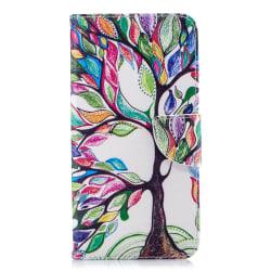 Läderfodral med ställ/kortplats, färgglatt träd, iPhone XS Ma... flerfärgad