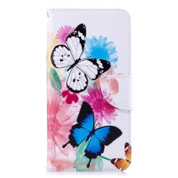 Läderfodral med ställ/kortplats, fjärilar, iPhone XS Max flerfärgad