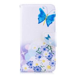 Läderfodral med ställ/kortplats, fjärilar, iPhone XS Max vit