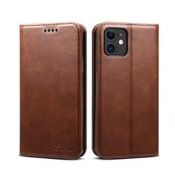 Läderfodral med ställ/kortplats, TPU-magnetskal, iPhone 11 brun