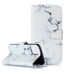 Läderfodral med ställ och marmormönster till iPhone 11 vit
