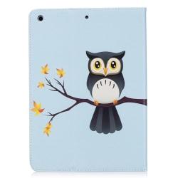 Läderfodral med ställ uggla, iPad Air blå